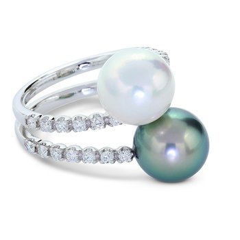 Bypass Pearl & Diamond Ring 18KW