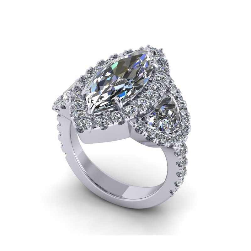 Lunaria Marquise Halo Engagement Ring