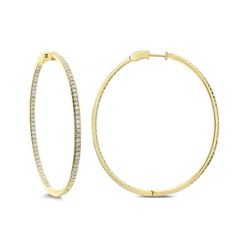 London Gold Designs 2.34ct Diamond Inside-Out Hoops 18KY