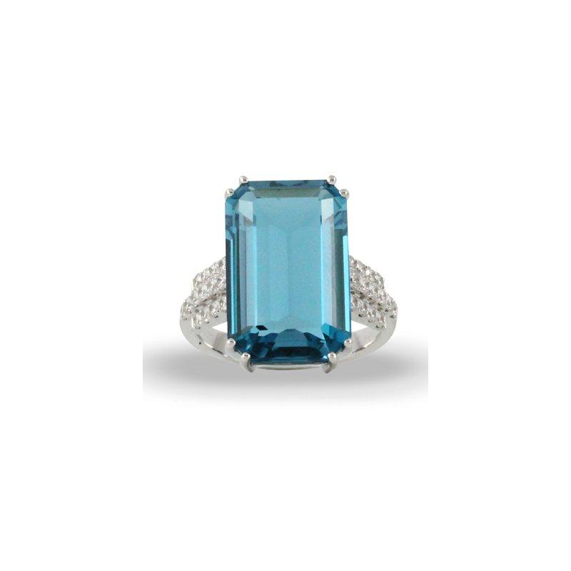 Doves London Blue Topaz Ring 18KW