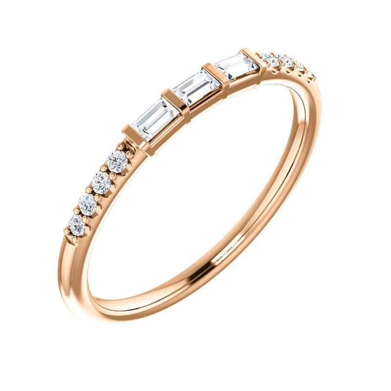 Gallery Designs Baguette & Round Diamond Band 14K