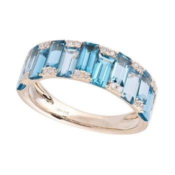 Blue Topaz & Diamond Band 14KY