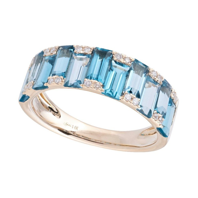 Sophia by Design Blue Topaz & Diamond Band 14KY
