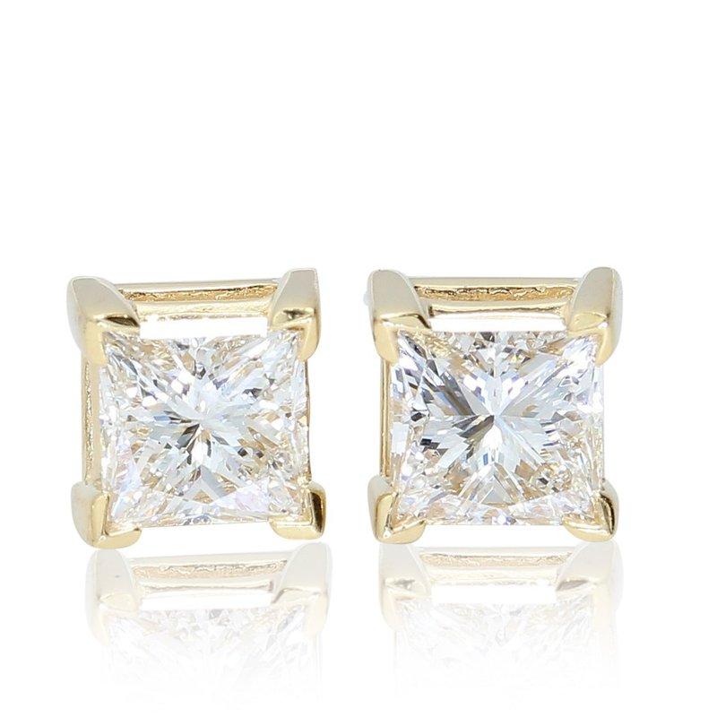 London Gold Designs 1.42 CTW Princess Cut Diamond Studs