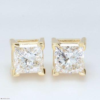 1.42 CTW Princess Cut Diamond Studs