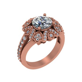 Floral Halo Engagement 18KR - Setting Only