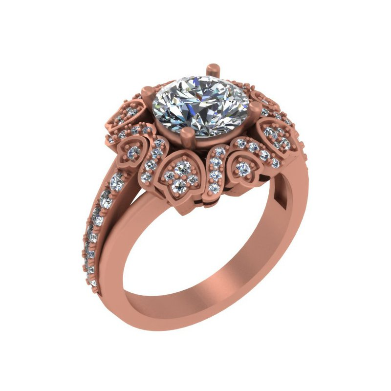 Isadora Floral Halo Engagement 18KR - Setting Only