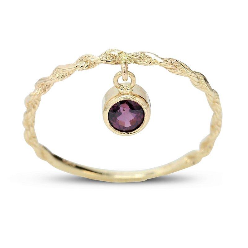 Gravity Bezel-Set Ruby Ring 14KY