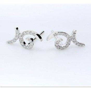Swirl Diamond Earrings 14KW