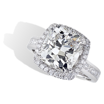 5.01ct Cushion Halo Engagement Ring 18KW