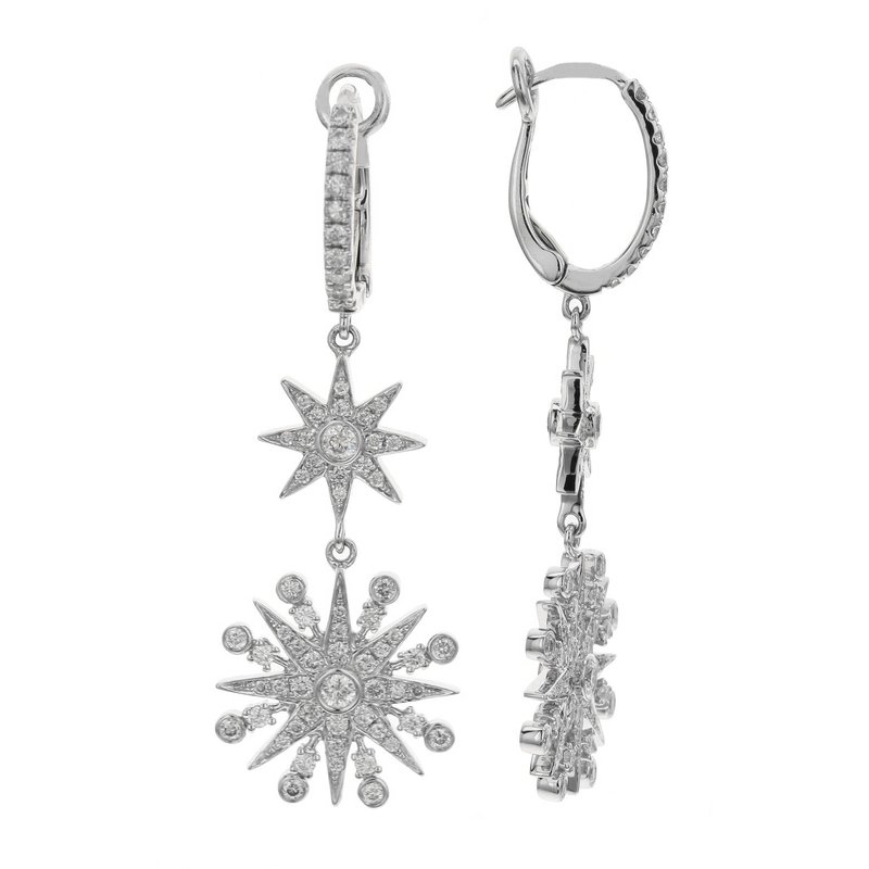London Gold Designs Starburst Dangle Earrings 18KW