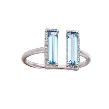 Blue Topaz & Diamond Split Ring 14KW