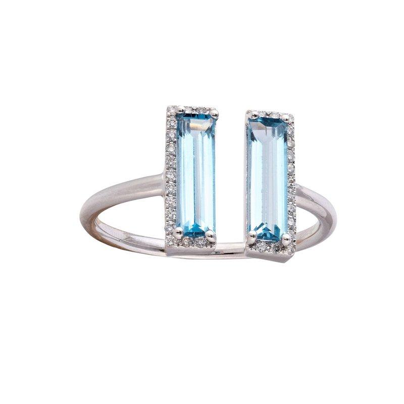 Sophia by Design Blue Topaz & Diamond Split Ring 14KW