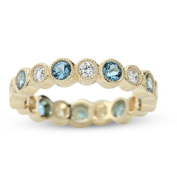 Stackable Diamond & Blue Topaz Ring