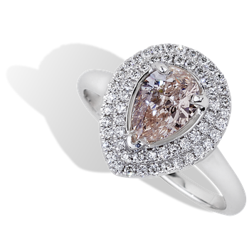 1.00ct Light Pink Halo Engagement Ring 18KW