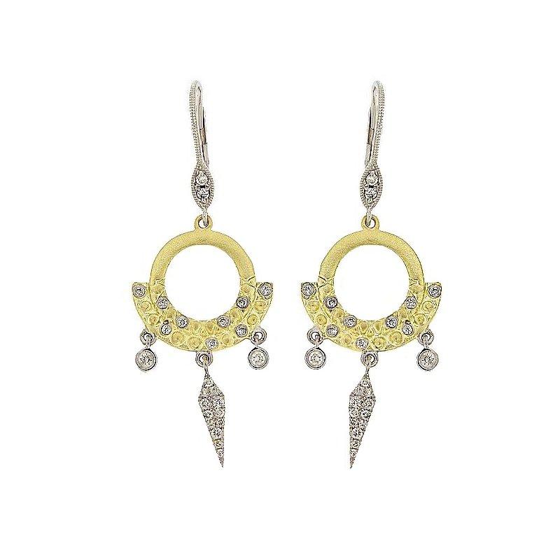 Meira T Brushed Dangle Earrings 14KY