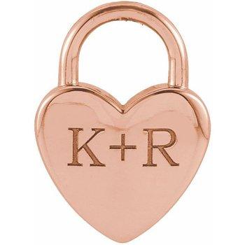 Engravable Heart Lock 14KR