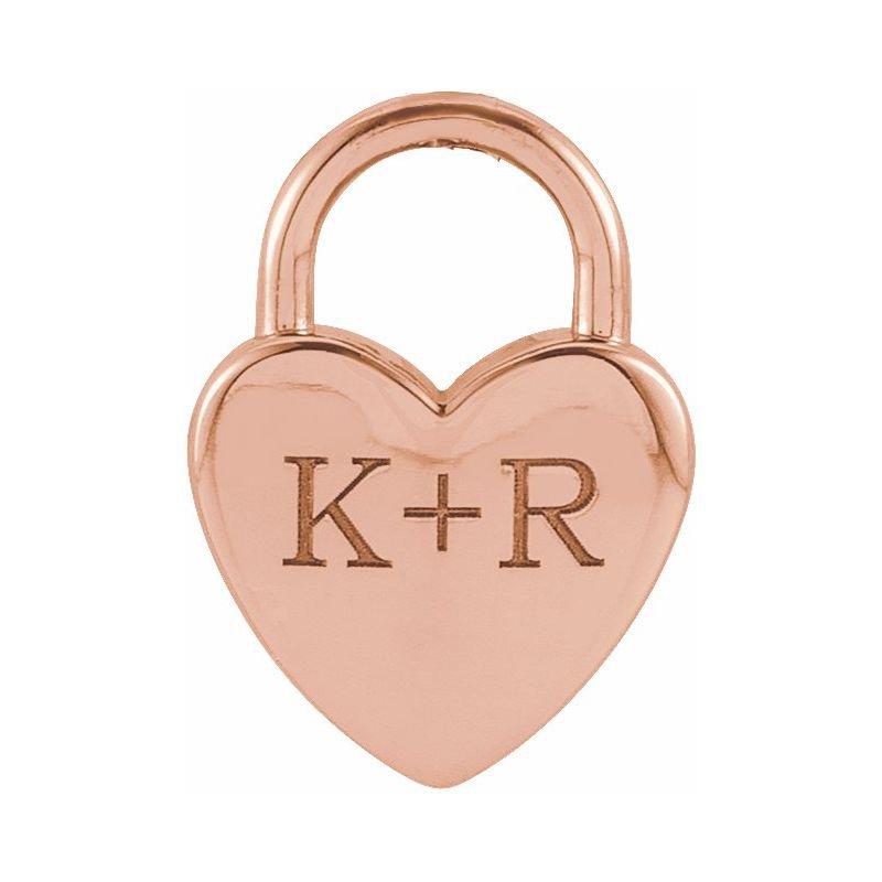 Gallery Designs Engravable Heart Lock 14KR
