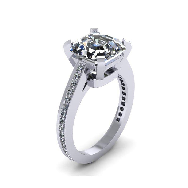 Lunaria Modern Diamond Engagement Ring - Custom Order