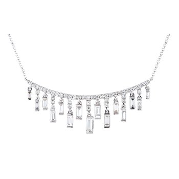 Cascading Bar Necklace 18KW