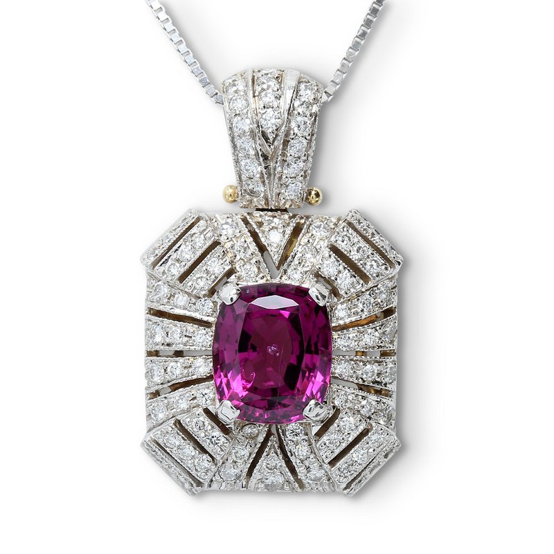 Estate Jewelry Art Deco Rhodolite Pendant 14KW