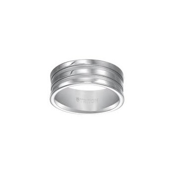 Grooved White Tungsten Engraved Wedding Band