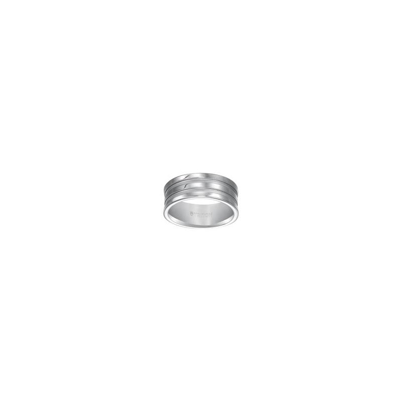 Frederick Goldman Grooved White Tungsten Engraved Wedding Band