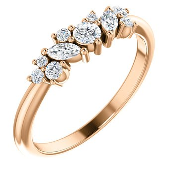 14K Rose Multi Shape Stackable Diamond Ring