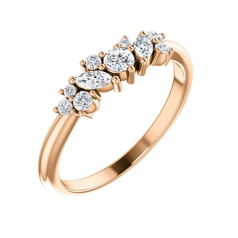 Gallery Designs 14K Rose Multi Shape Stackable Diamond Ring