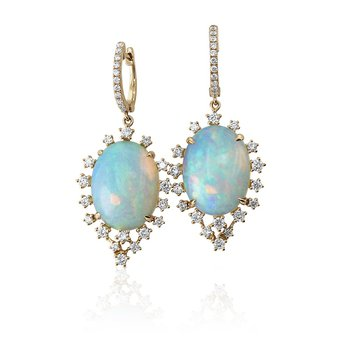 Opal & Diamond Dangle Earrings 18KR