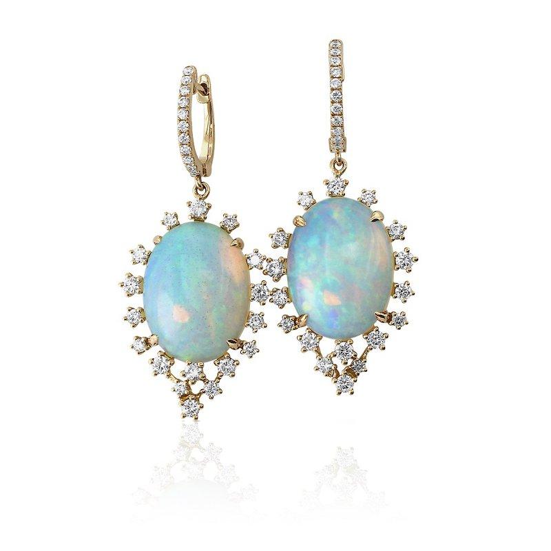 Yael Designs Opal & Diamond Dangle Earrings 18KR