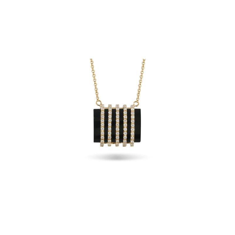Doves Gatsby Onyx & Diamond Necklace 18KY