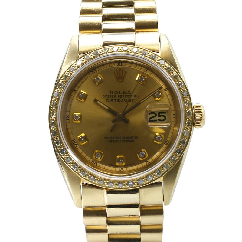 Rolex Pre-Owned Watches Custom President Datejust 18KY Vintage 1601