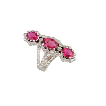 Estate Diamond and Pink Tourmaline Ring