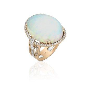 White Opal & Diamond Ring 18KR