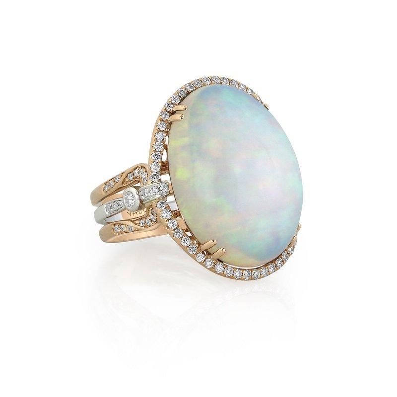 Yael Designs White Opal & Diamond Ring 18KR