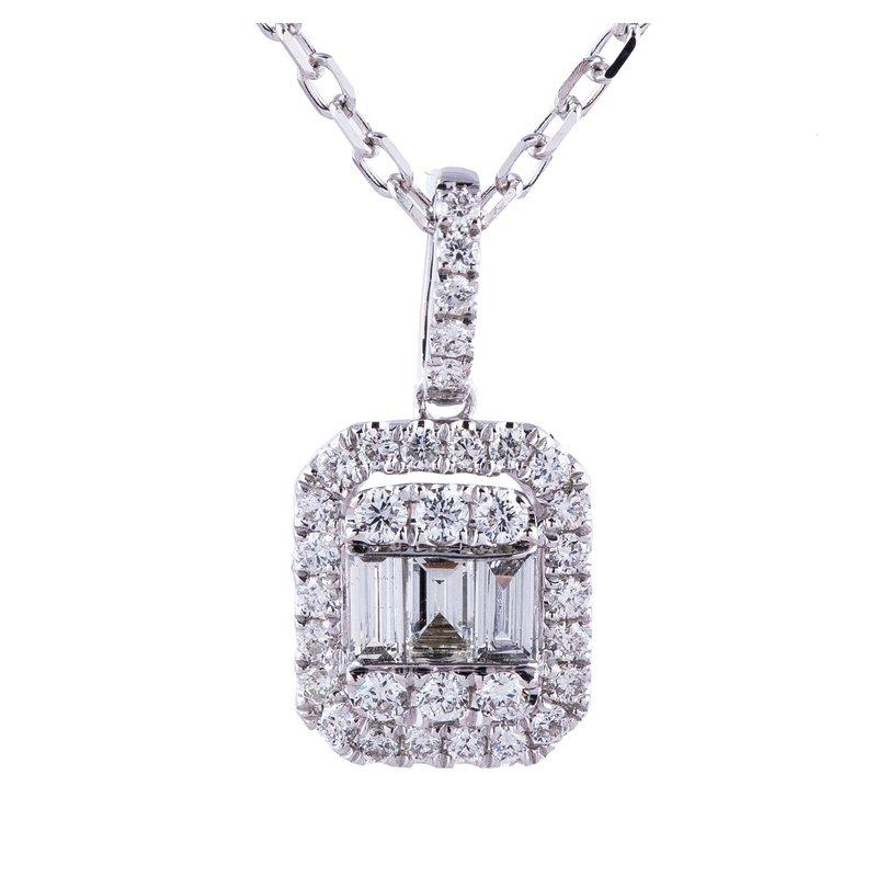 Sophia by Design Halo Diamond Pendant 14KW