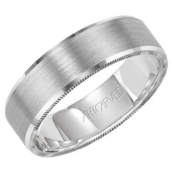 "14k White Gold ""Elliot"" Comfort Fit Wedding Band"