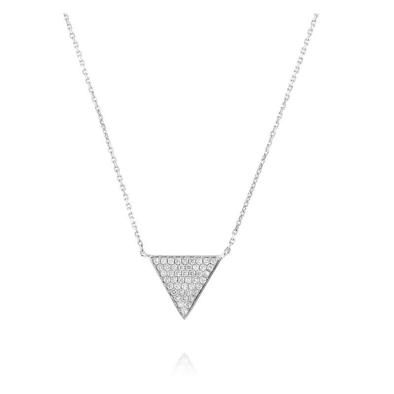 Yael Designs Pave Set Triangle Necklace 18KW