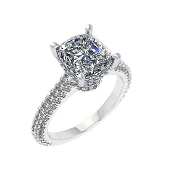 Pave Cathedral Engagement Ring - Setting Only