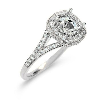 Halo Engagement Ring Setting 18KW