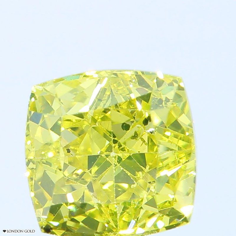 Colored Diamonds Cushion 1.51 Color Treated Fancy Vivid Yellow-SI1