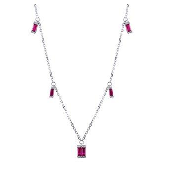 Diamond & Ruby Necklace 14KW
