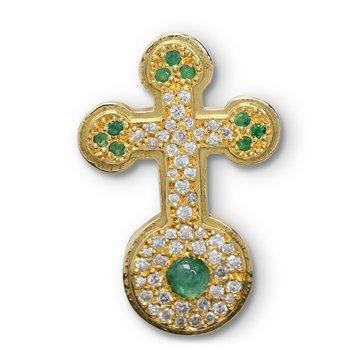 Pave Set Diamond & Emerald Cross 18KY