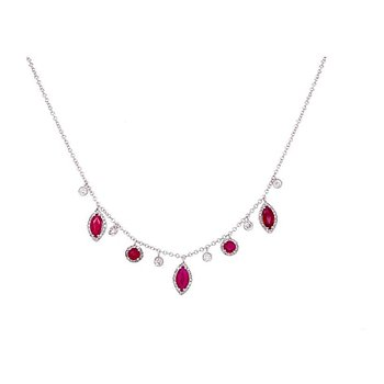 Ruby Halo Charm Necklace 14KW