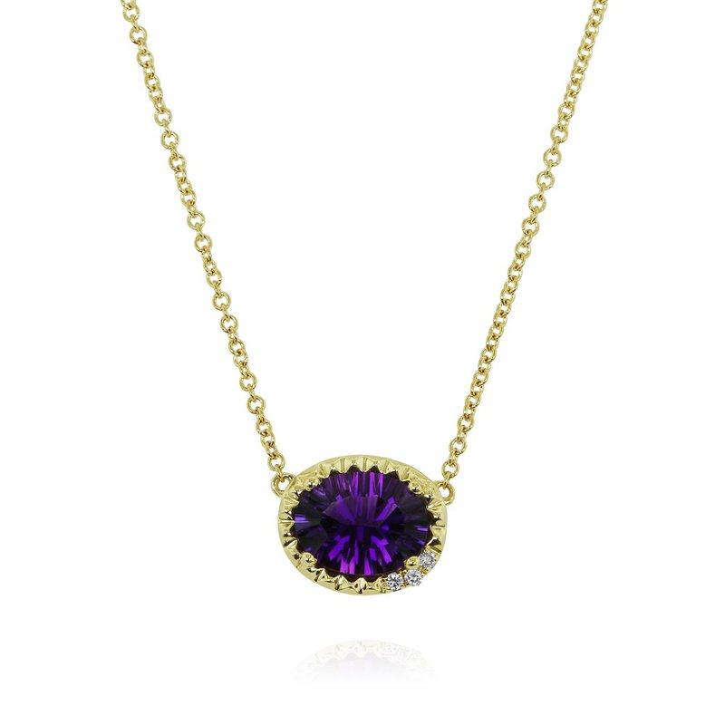Yael Designs Oval Amethyst Necklace 14KY