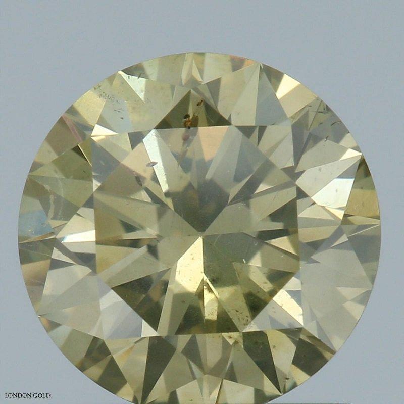 Colored Diamonds Round 1.11 Fancy Grayish Greenish Yellow