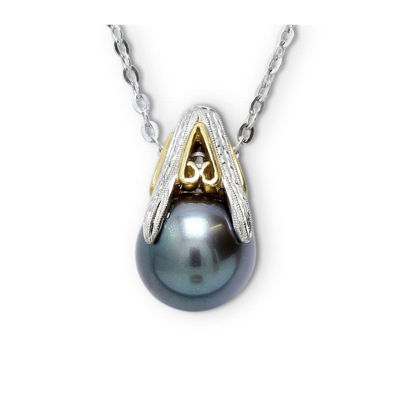 Estate Jewelry Tahitian Pendant Plat & 18K