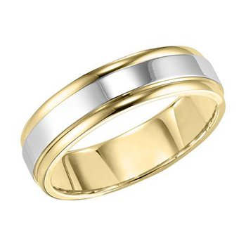 14K 6MM Two-Tone Comfort Fit Wedding Band