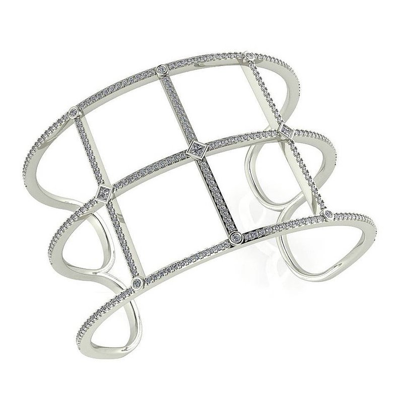 Isadora Wide Open Diamond Bangle 18KW